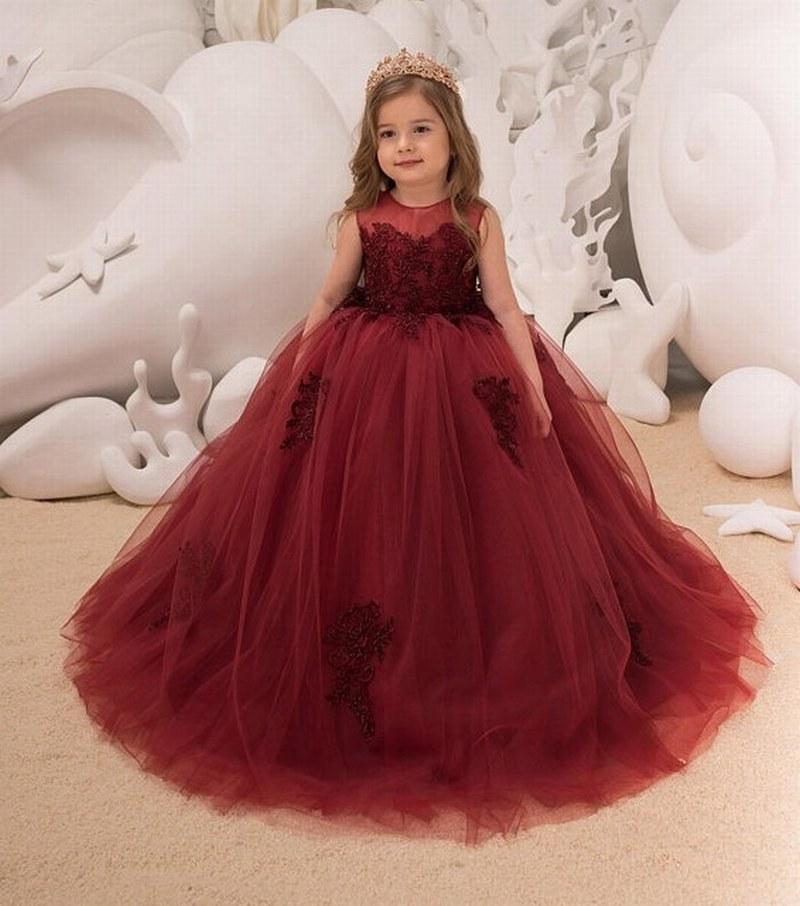 7bb2d28eda Compre Vestido De Niña De Flores Vino Formal De Tul Rojo Vestido De  Princesa Para El Cumpleaños Banquete De Boda Vestidos De Fiesta De Dama De  Honor A ...