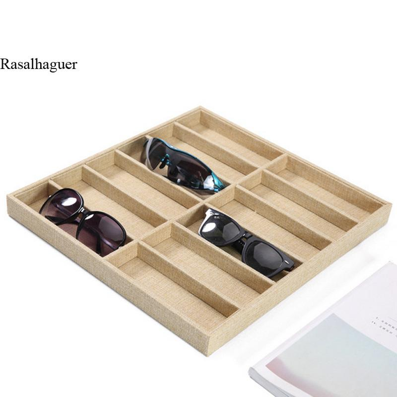 Linen 10/12 Grids Sunglasses Display Box Jewelery Display Glasses Display Props Jewelry Organizer Tray Fashion Cases Packaging