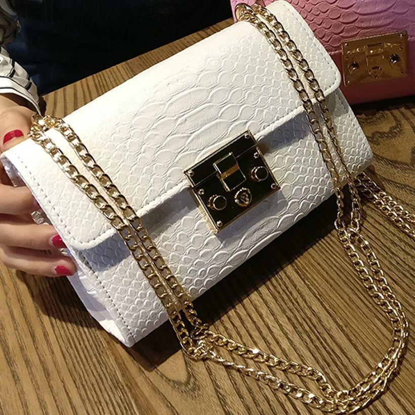 f6b76961b44 Fashion Ladies Crocodile Flap Bag Designer Handbags Women Bags 2019 Black  White Small Day Clutch Gold Chain Girls Crossbody Bags