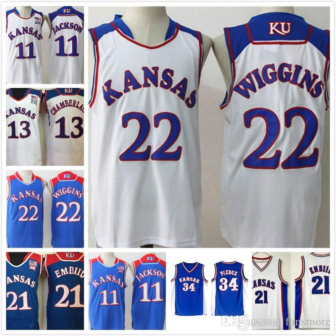 new product 7532a 070f7 Mens NCAA Kansas Jayhawks Basketball Jerseys 34 Paul Pierce 22 Andrew 11  Josh Jackson 13 Wilt Chamberlain Jerseys