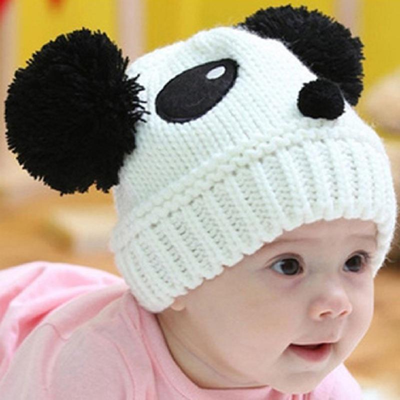 2b80699ff90 Children Cute Animal Panda Hat Toddler Kids Baby Warm Winter Hat Knit  Skullies Beanie Fur Pom Pom Baby Boy Girl Cap 1 3Years UK 2019 From Lahong