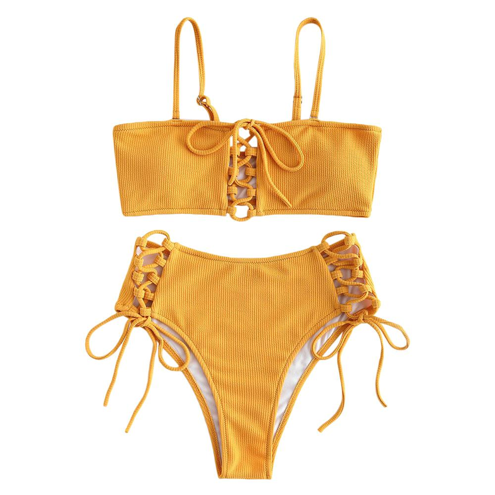 37b2effc96f9 ZAFUL Bikini de talle alto con cordones Bikini de pierna alta Traje de baño  Amarillo Traje de baño para mujer 2019 Biquini Feminino