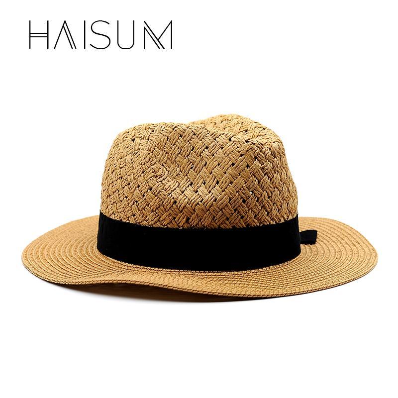 3dcc82dc 2018 Real Sombreros Haisum Summer Beach Women Hat Brim Ladies Sun Casual  Panama Straw Caps Head Circumference 55 58 Hn24 Mens Straw Hats Mens Hat  Styles ...