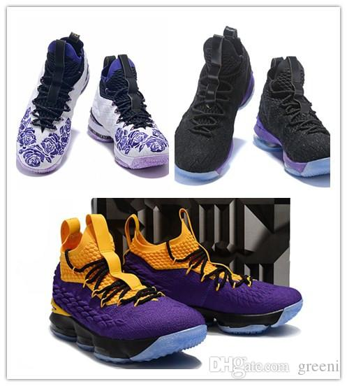 best loved 13db8 a2fe3 2019 Hot Sale Lebrons 15 Purple Rain Men Basketball Shoes For High Quality  Lakers Violet Gold James 15s Leisure Sport Shoes With Box