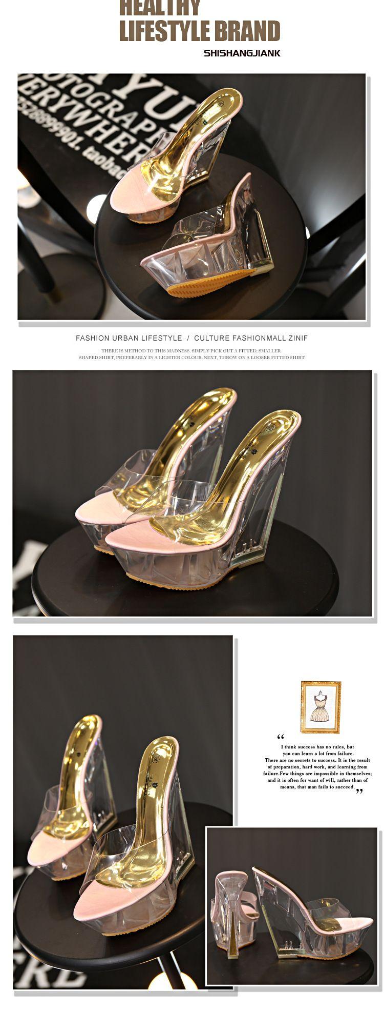 Dwayne Sexy Sommer Mode High Heels Sandalen Hausschuhe Mules Transparente Kristall Plattform Keile Schuhe 15 CM Jelly Sandalen