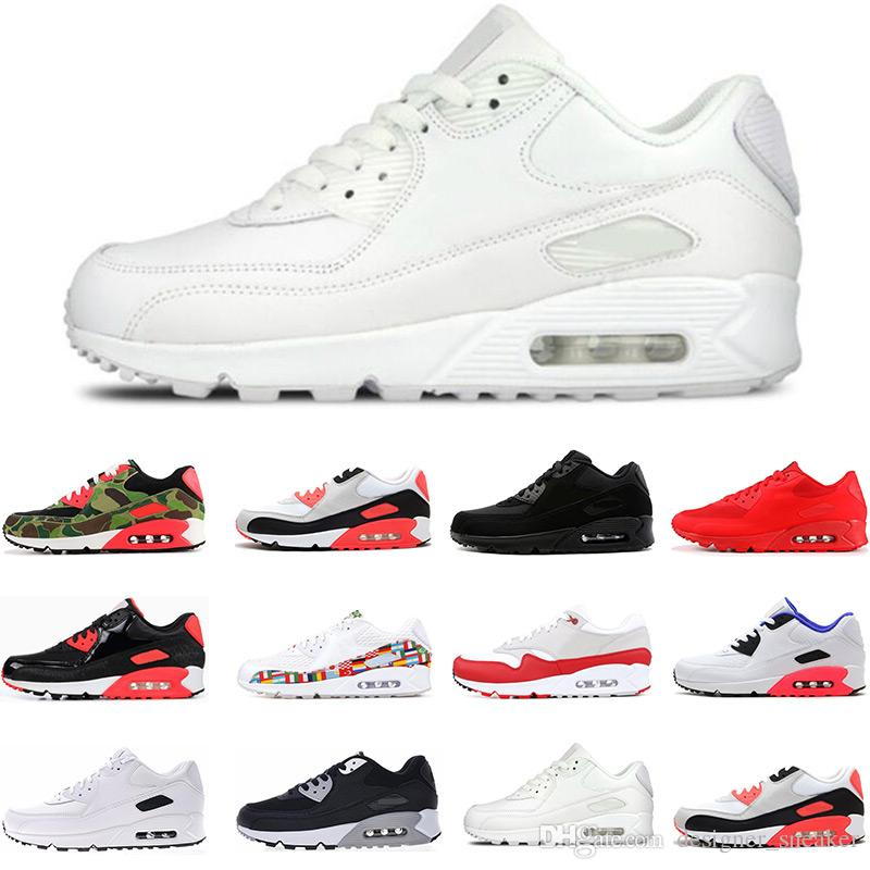Hot!!2019 classic 90 shoes Mens women Running Shoes Black Red White Trainer Cushion Surface Breathable Sports sneaker Shoes size 36 45