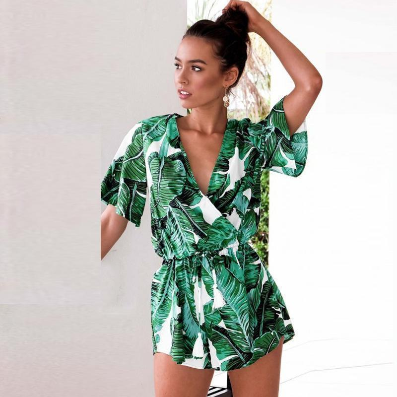 cd1c70aa37d9 Sexy Deep V Neck Summer Playsuit Short Sleeve Boho Beach Green Leaves Print Jumpsuit  Casual Loose Short Rompers Female Overall Ladies Dressed White Floral ...