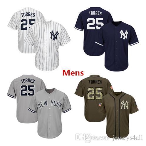 8697e8b5da9fb 2019 Mens New York Yankees Baseball Jerseys 25 Gleyber Torres Jersey Navy  Blue White Gray Grey Green Salute Players Weekend All Star Team Logo From  ...