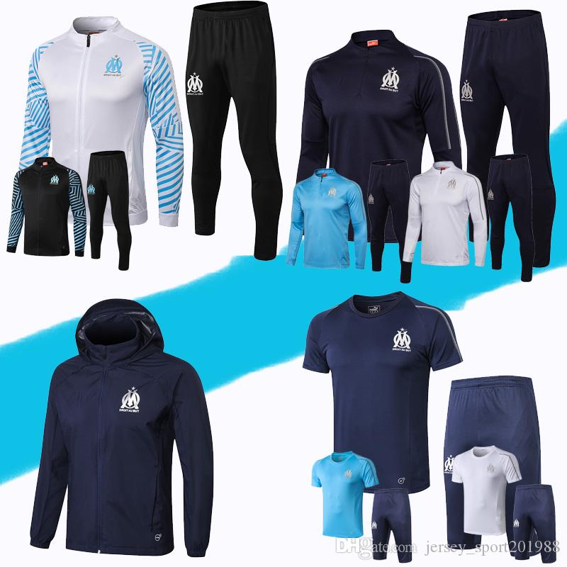 Top Quality Survetement football Maillot de Foot 2018 om capuche Olympique de Marseille hoodie jacket Thauvin soccer equipment Tracksuit