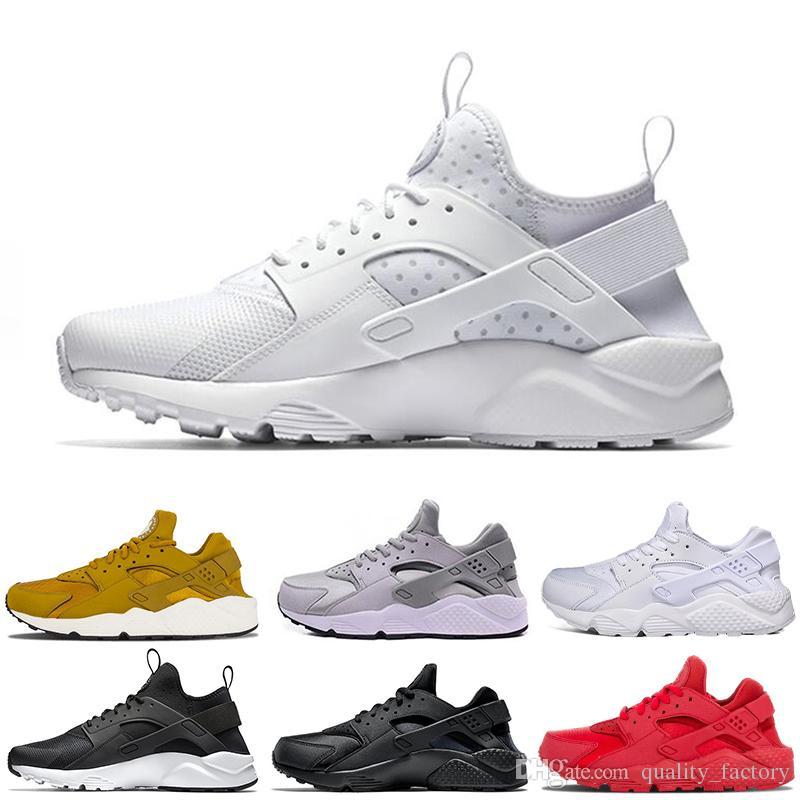 e22e8a1b33467 Air Huarache 1.0 4.0 Mens Running Shoes Triple Black White Gold Red ...