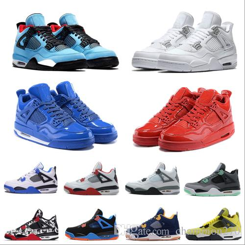New Top 4 4s Men Basketball Shoes White Laser Black Cat Thunder Military Blue 2019 Designer Shoes Training Sneakers Sport Shoes Size 7-12