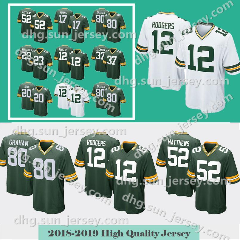 6f958e1f368 12 Aaron Rodgers Green Bays Men Jersey Packer 80 Jimmy Graham 52 Clay  Matthews 37 Josh Jackson 23 Jaire Alexander 20 Kevin King Jerseys UK 2019  From ...