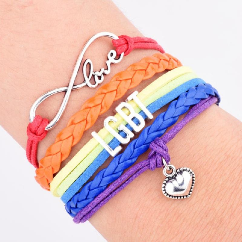 Gay Pride LGBT Rainbow Bracelets Infinity Love Wrap Multilayer Bangle Friendship Gifts Wedding Charms Personal Jewelry Wholesale DHL