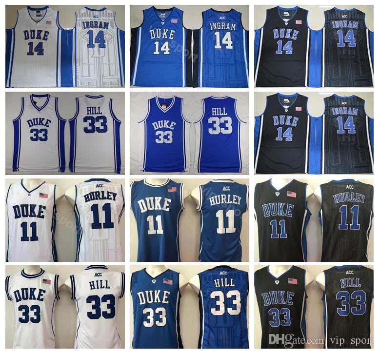 timeless design 8a215 0b7f4 Duke Blue Devils College Bobby Hurley Jersey 11 Men Basketball Grant Hill  33 Brandon Ingram Jerseys 14 Black Away White Team Color Blue