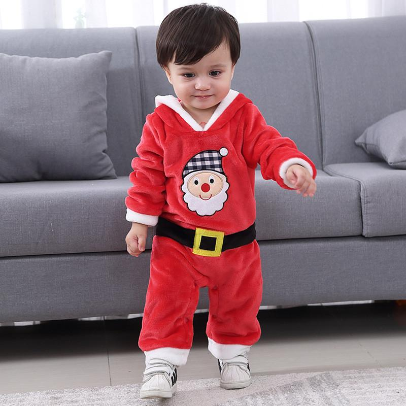 Baby Kids Rompers Chirtsmas Fuzzy Plush Santa Claus Jumpsuit Hooded One Piece Climbing Suit Playsuit Sleepsuit for Boys Girls 3-18 months