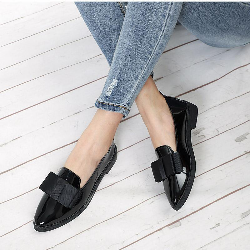 bf77c27b734c Autumn Flats Women Shoes Bowtie Loafers Patent Leather Elegant Low Heels  Slip On Footwear Female Pointed Toe Thick Heel Mens Shoes Online Mens Dress  Boots ...