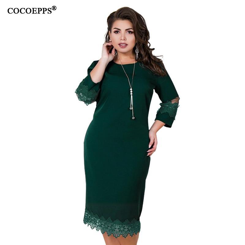 d8af362b5c 5xl 6xl 2019 Summer Plus Size Lace Dress Women Casual Large Big Size Mesh  Patchwork Dress Office Ladies Elegant Party Clothings J190429