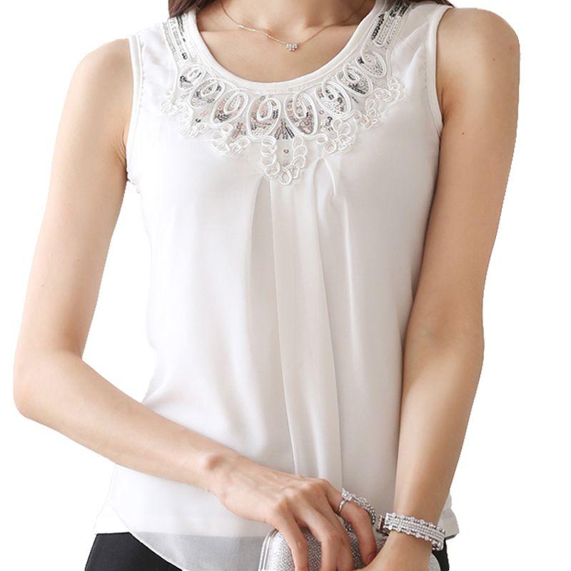 b80e37b490729f 2019 2019 Korean Style Fashion Women Chiffon Blouses Lace Ladies Tops  Female Sleeveless White Black Shirt Blusas Femininas Plus Size From  Armhole, ...