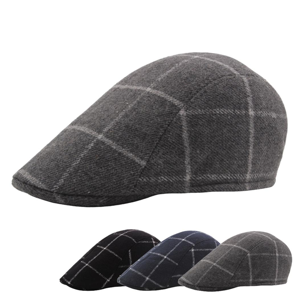 30f64fd8 British Artist Flat Cap Vintage Wool Plaid Berets Caps Unisex French Hat  England Woolen Cabbie Hats Beret For Women Men Gorro