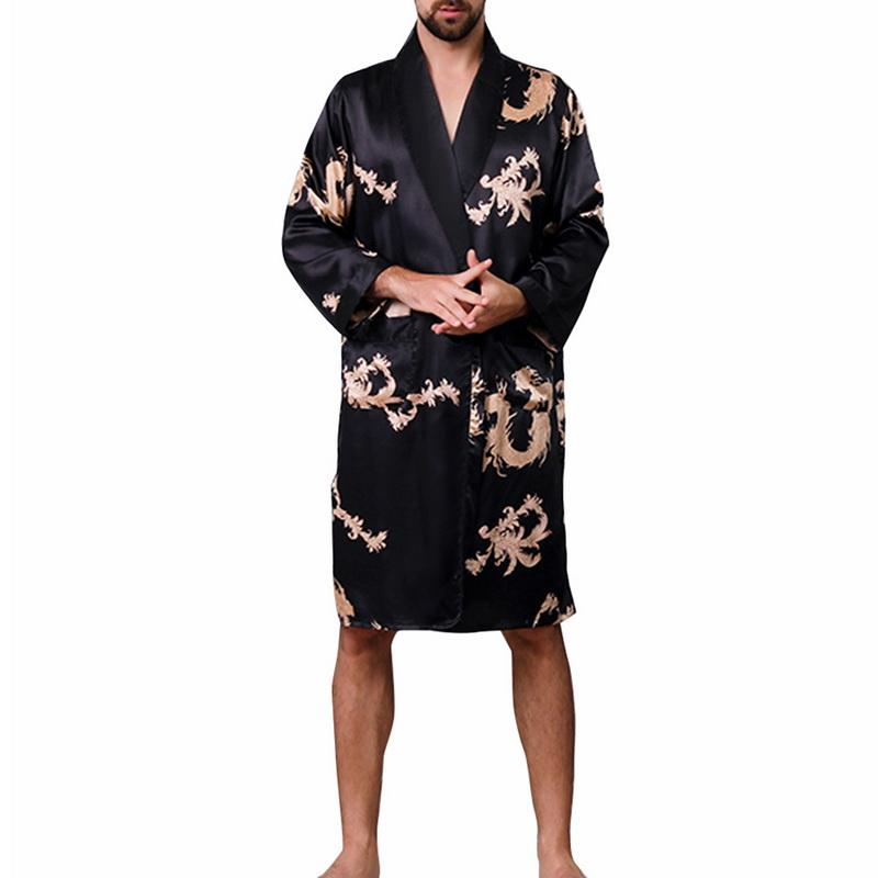 Men Chinese Style Dragon Sleep Robes 2019 New Plus Size Long Bathrobe Brand  Faux Silk Long Male Sleep Robes 5XL Sleepwear Robes Cheap Robes Men Chinese  ... 96367fe77