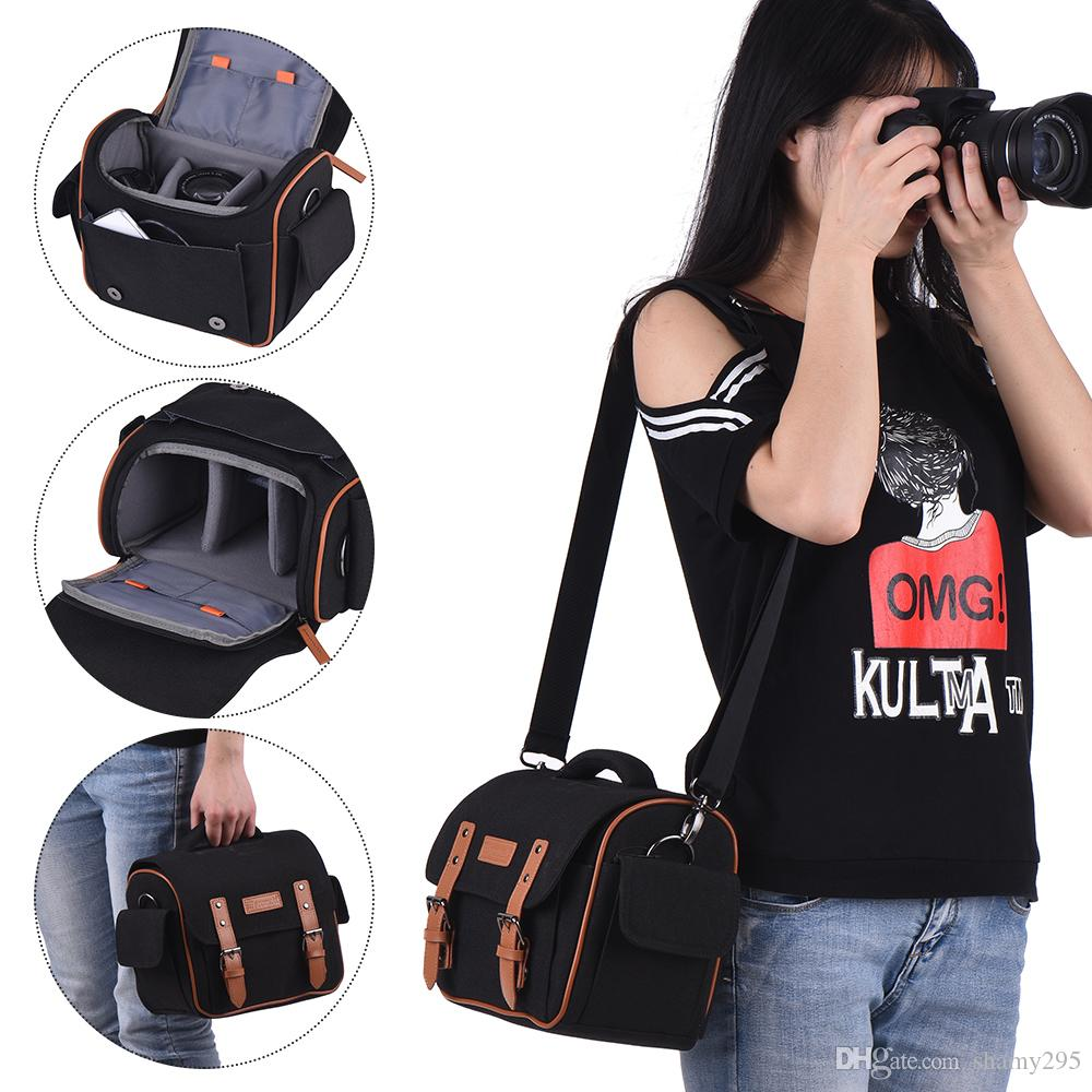 Camera Bag Shockproof Waterproof DSLR SLR Camera Messenger Bag Case for Canon Nikon Sony Panasonic Olympus and Lens free shipping wholesale