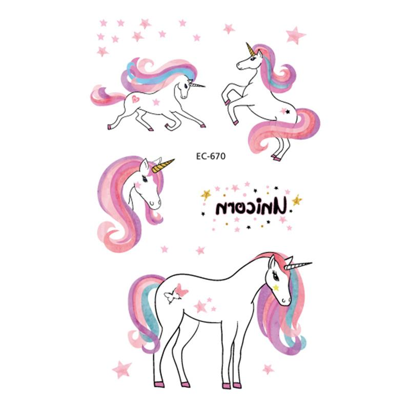 Unicorn Temporary Tattoo Sticker Wand Rod Rainbow Cartoon Cute Horse