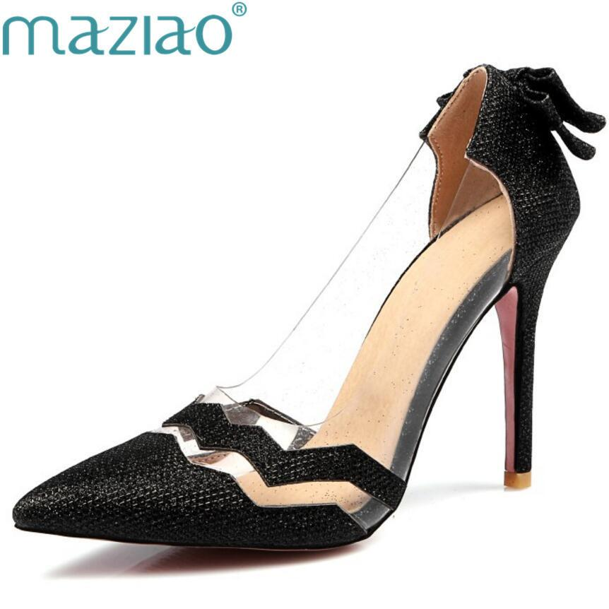 77527ba6083 Dress Maziao Silver Bling Bling Fashion Design Women S High Heel Pumps  Summer See Through Party Wedding Stiletto Shoes 10cm Thin Heels Pink Shoes  Munro ...