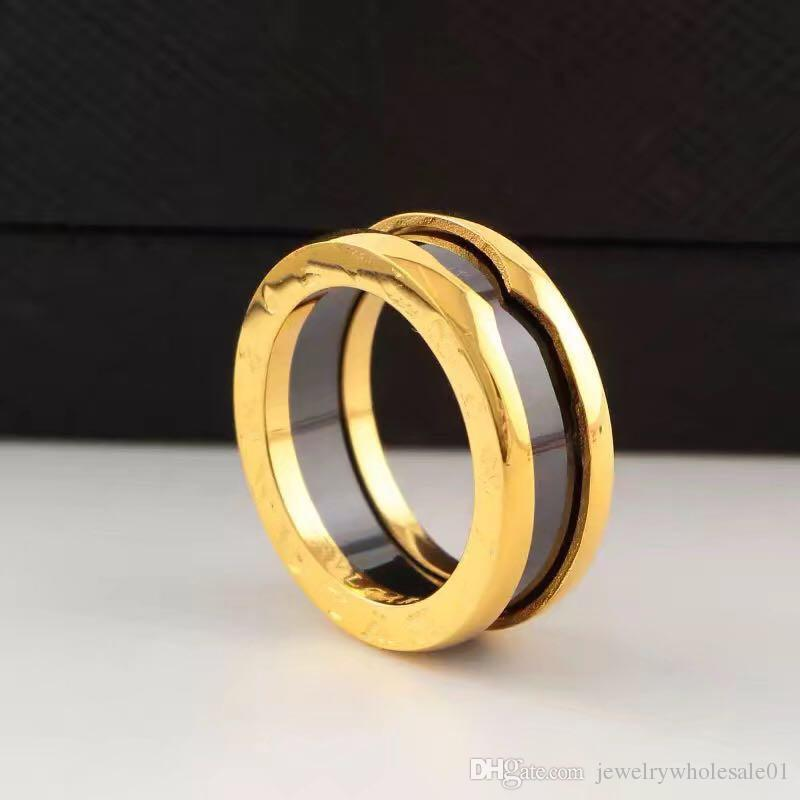 2018 Narrow edition ring spring ring black and white ceramic ring, female couple ring, male titanium steel rose gold