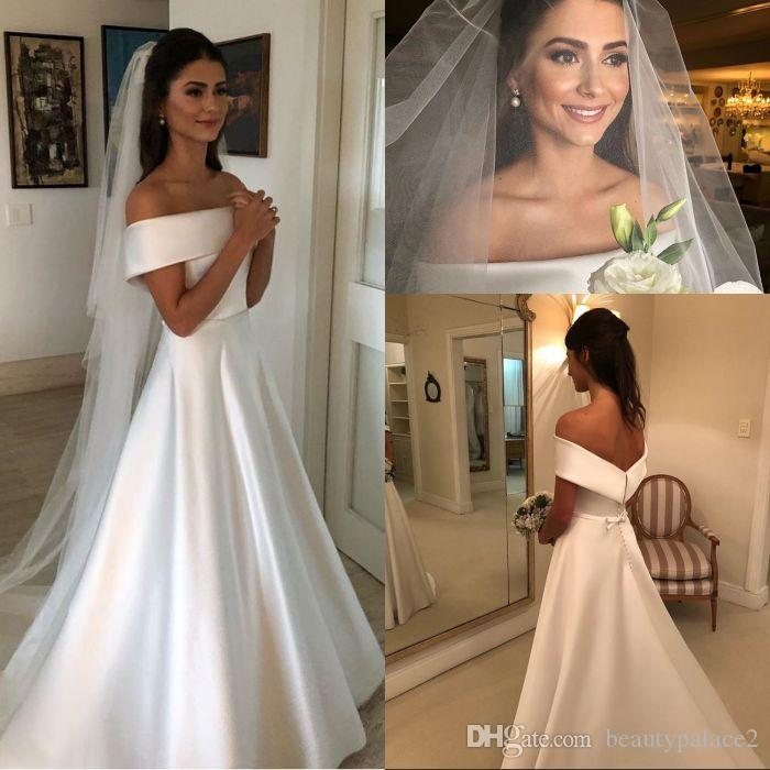 Simple A Line Wedding Dresses Satin Off The Shoulder Wedding Bridal Gowns Sweep Train Casual Dresses Zipper With Buttons Back