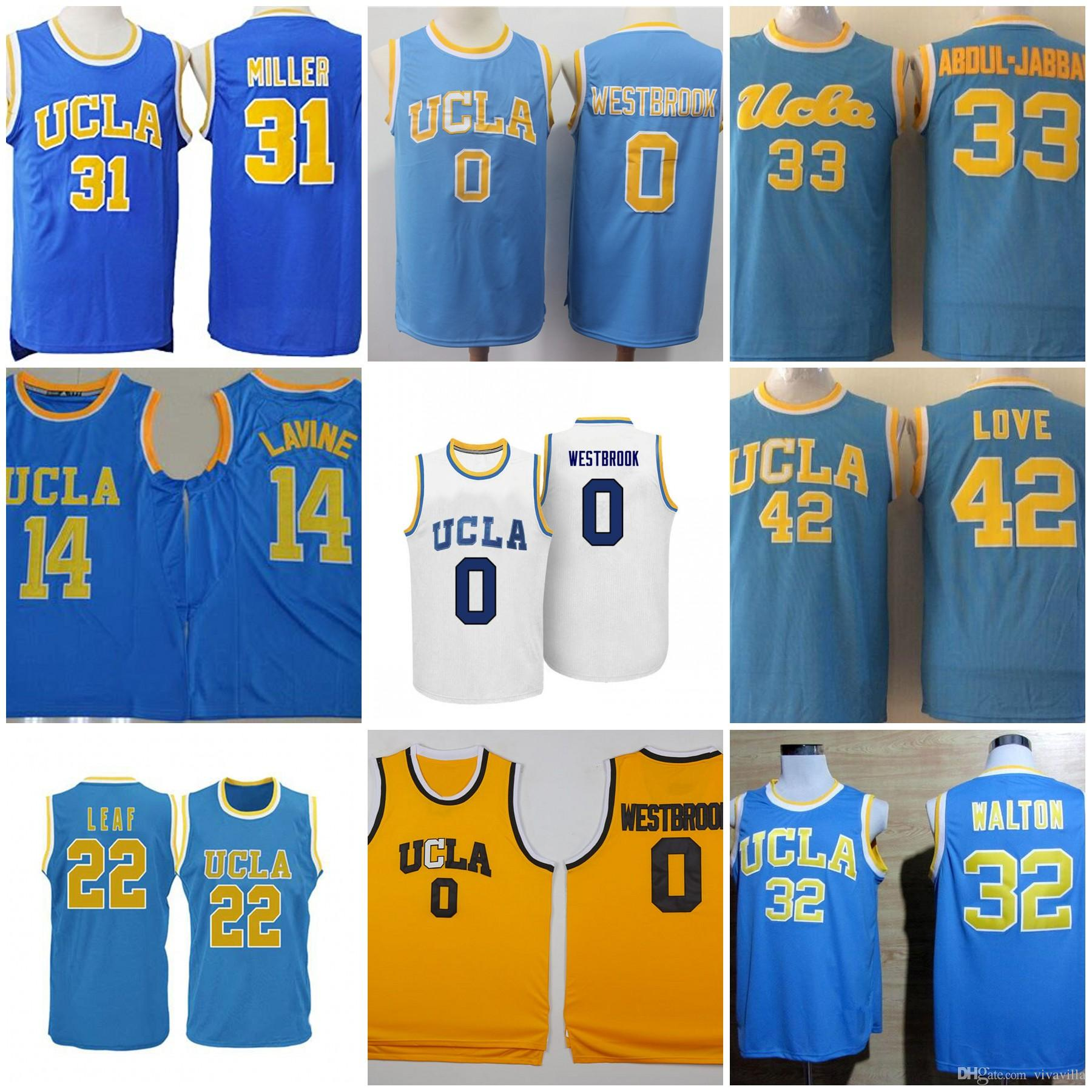 71fa128dcaf 2019 UCLA Bruins Jersey 0 Russell Westbrook 2 Lonzo Ball 14 Zach LaVine  Kevin Love Reggie Miller Leaf College Basketball University Jerseys From  Vivavilla, ...