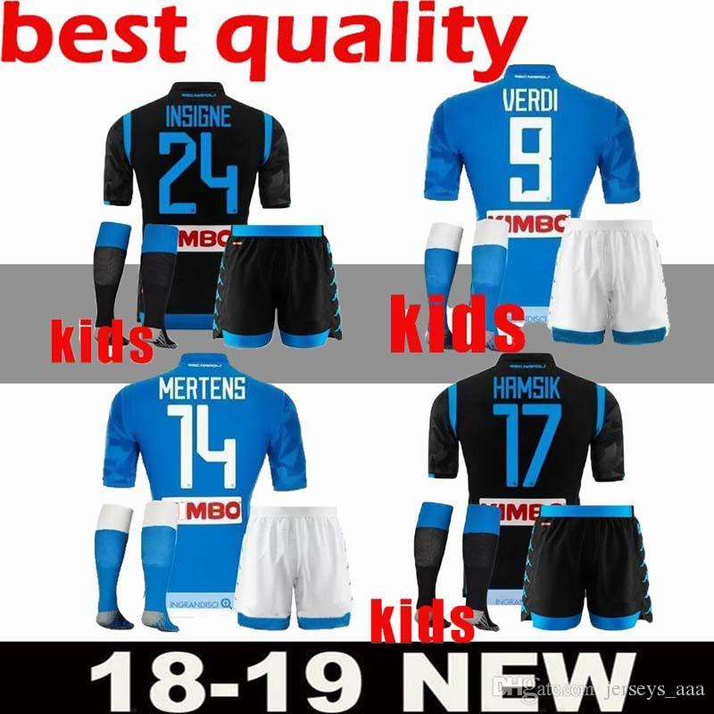 866b1c600 KIDS KIT 2018 2019 Napoli Home Soccer Jerseys 18 19 Naples ZIELINSKI HAMSIK  INSIGNE MERTENS CALLEJON PLAYER SSC Children Football Kits Napoli Soccer  Jersey ...