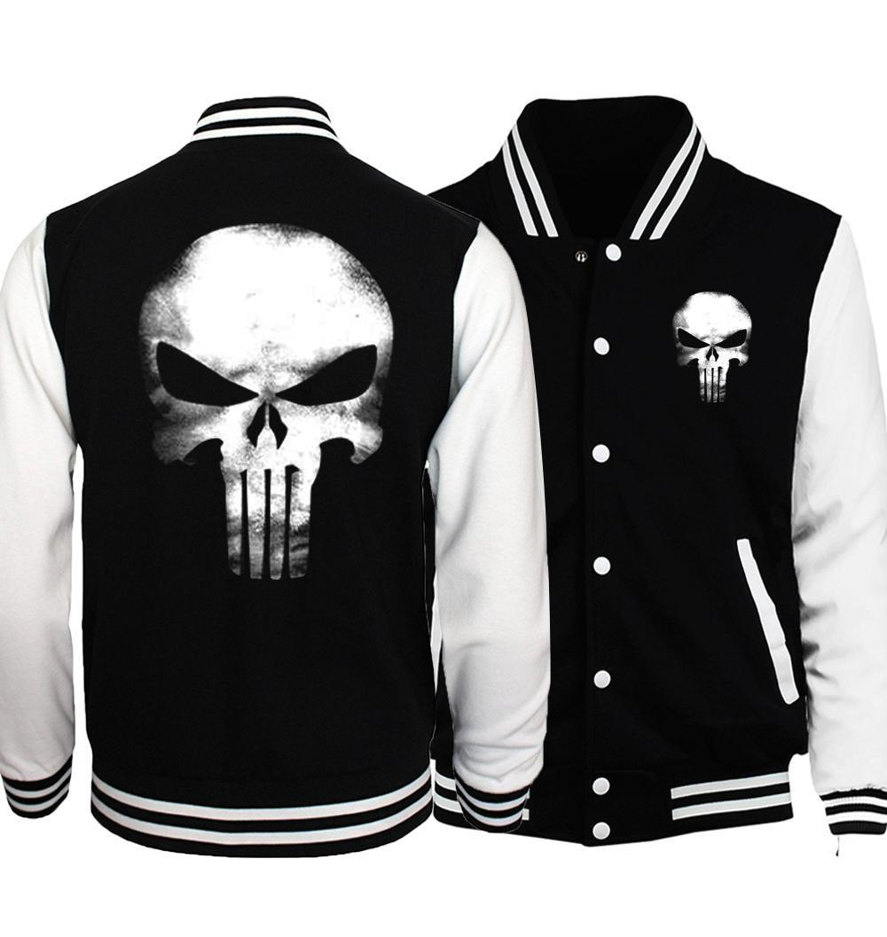 New Plus Size Men Jacket 2017 Spring Bomber Jacket Batman 2/ Film Hero/ Movie/ The Punisher Hip Hop Coat Jackets Sportswear
