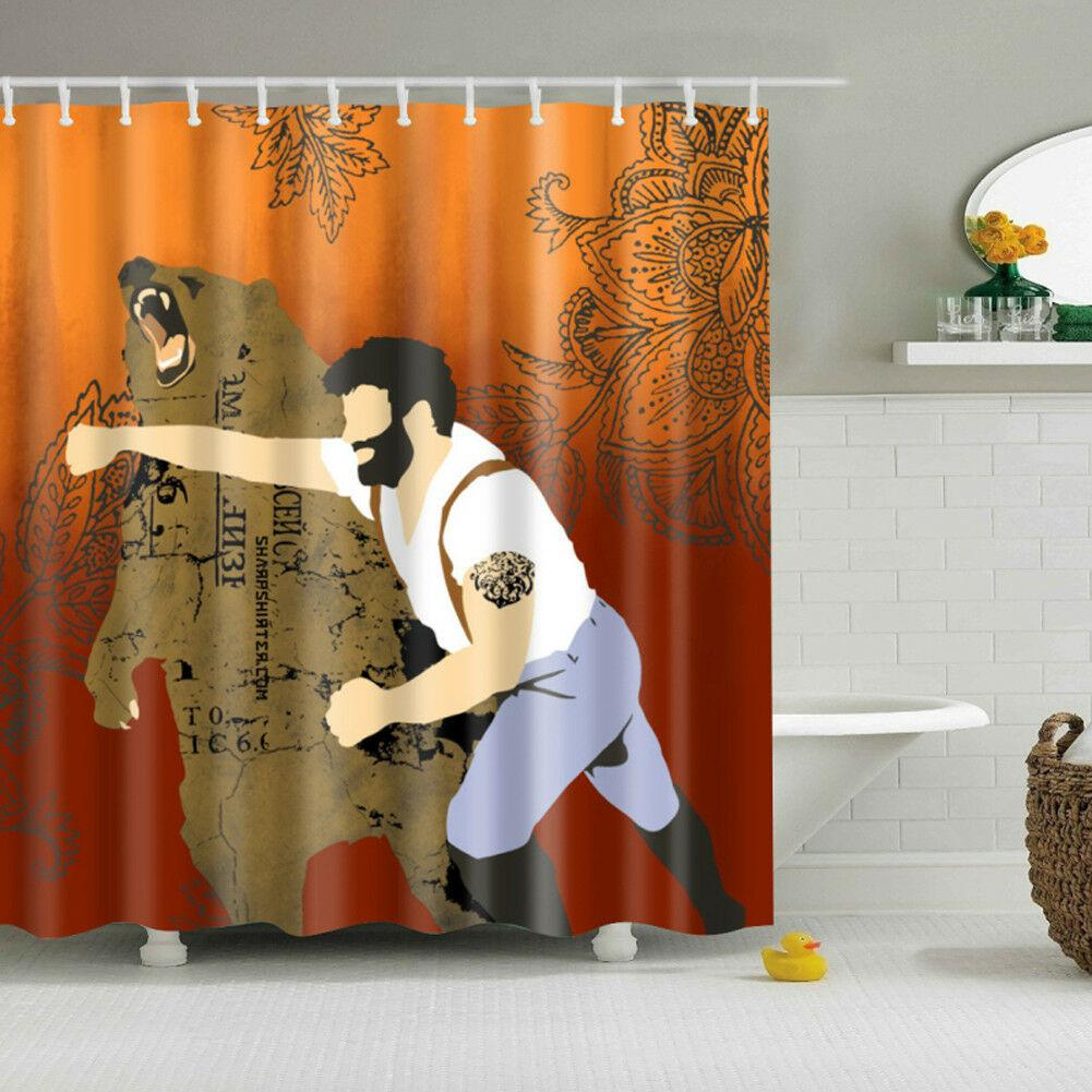 Polyester manpower shower curtain Durable Fabric Mildew Bathroom Accessories Creative with 12 Hooks 180X180CM