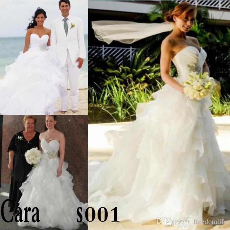 0959780e48 Discount 2019 Cascading Ruffles Beach Wedding Dresses Sweetheart Crystal  Beaded Cheap Backless Organza Plus Size Bridal Gowns Vestidos De Novia  Search ...