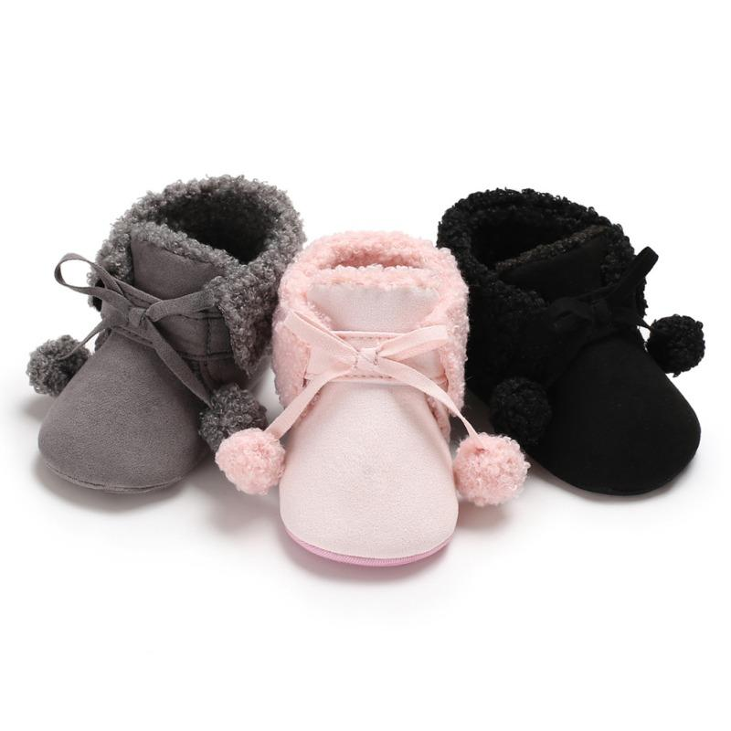 0759f1e8a008 Cute Winter Soft Plush Baby Booties Infant Anti Slip Snow Boots Warm ...