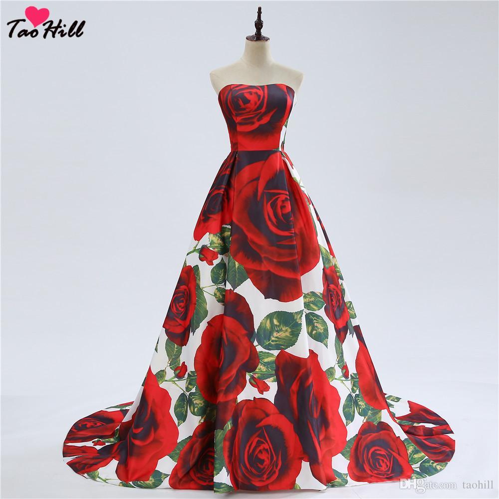 d3067cb2eadd4 Acheter TaoHill Fashion Imprimé Robe De Soirée Fleur Robes Une Ligne  Bustier Dos Sans Manches Une Ligne Robes De Bal Longue Robe De Soirée De   89.55 Du ...