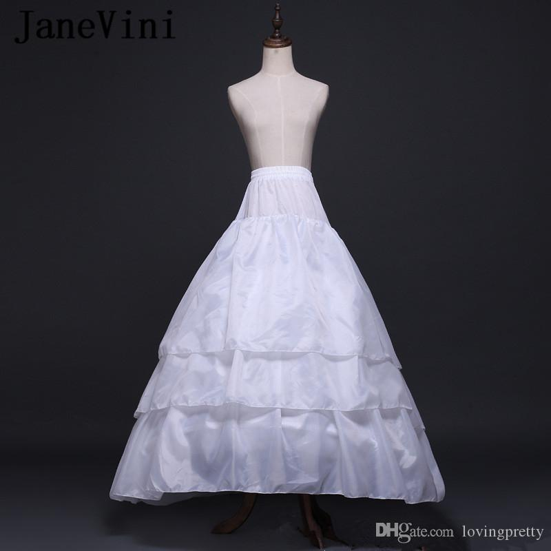 JaneVini 2019 White 3 Layers Tulle Dress Petticoat Bridal Elastic Waist Tulle Underskirt Slip 2 Hoops A Line with Train Wedding Accessories