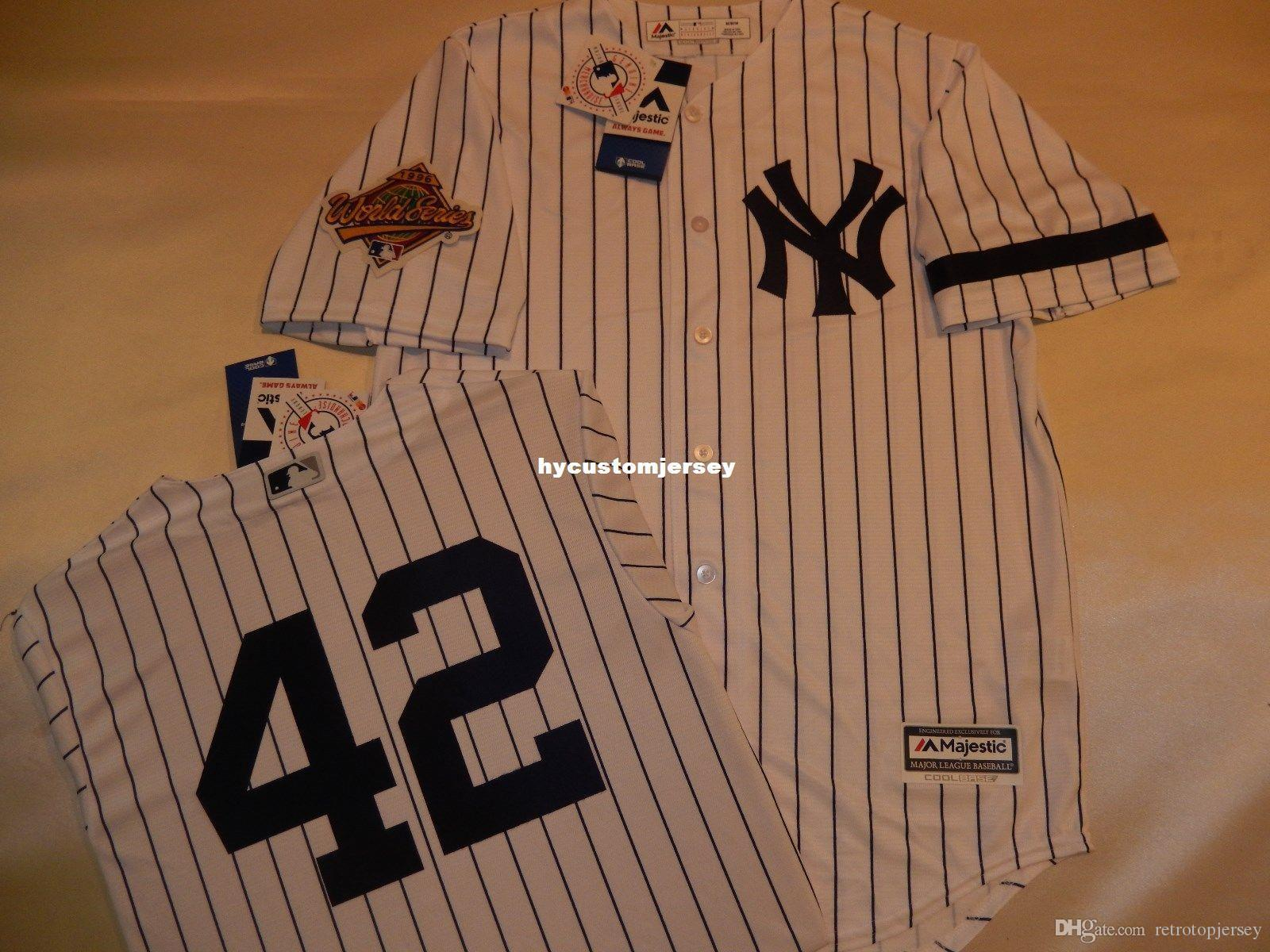 Cheap custom New York #42 MARIANO RIVERA 1996 WORLD SERIES Baseball Jersey WHT P/S Mens stitched jerseys Big And Tall SIZE XS-6XL For sale