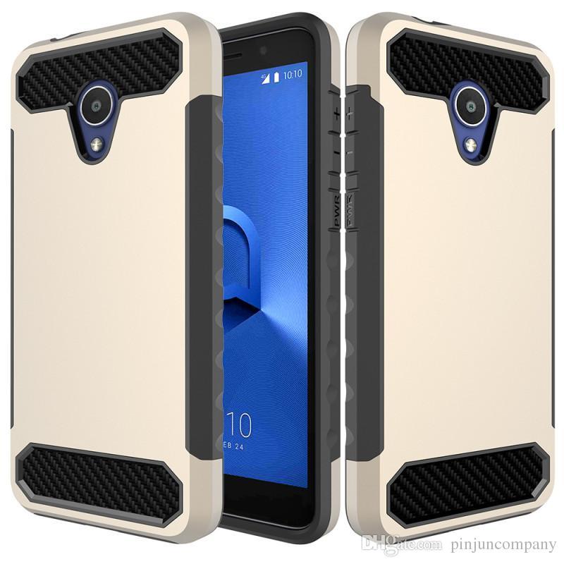 Hybrid Armor Case For Alcatel 1x Evolve MetroPCS Carbon Fiber TPU+PC Back  Cover For Alcatel 1x Evolve phone case