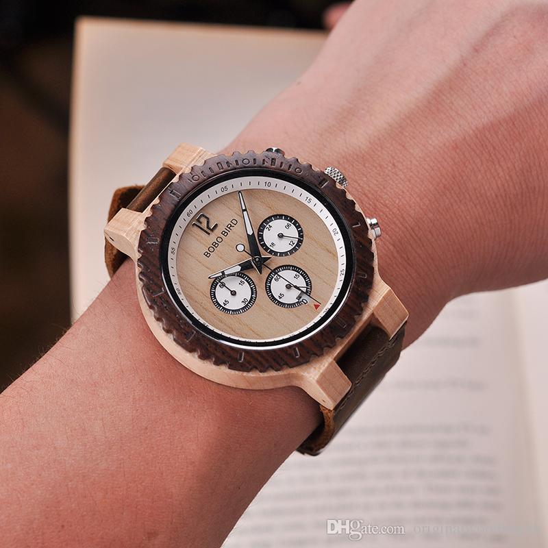 1f6a0ccfdac Compre BOBO PÁSSARO Homens Relógio Relogio Masculino De Madeira Cronógrafo  Relógios De Design De Luxo Cor De Madeira Brilhante De Quartzo Relógios De  Pulso ...
