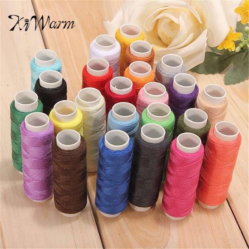 KiWarm 24Pcs Bobine colorate Fine Quality Cotton Sewing Machine Thread Reel Cord String Multi colore per strumenti di cucito per la casa