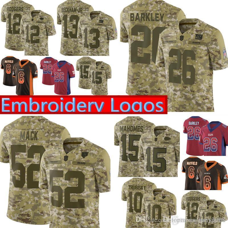 fd2dfe99e 2018 Camo Salute To Service Bears 52 Khalil Mack Giants 26 Saquon Barkley  Jersey Chiefs 15 Patrick Mahomes 12 Aaron Rodgers Jerseys From  Topmensjersey2018