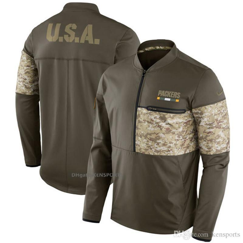hot sale online 794bd 404d8 Men Green Bay Packers Salute to Service Sideline Hybrid Half-Zip Pullover  Jacket - Olive