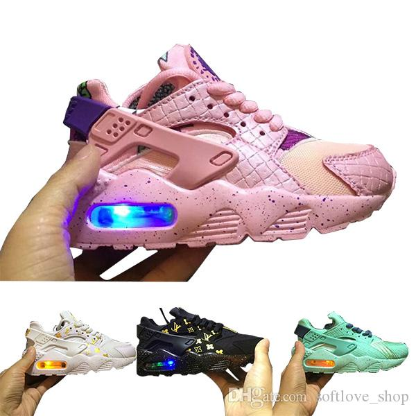 eb3bfc4e31a9e Flash Light Air Huarache Kids 2018 New Running Shoes Infant Run Children  Sports Shoe Outdoor Luxry Tennis Huaraches Trainers Kid Sneakers Running  Shoes With ...