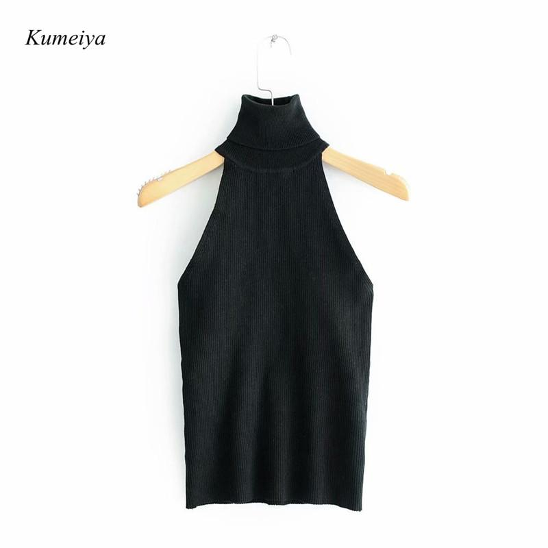 Sexy Women Turtleneck Knitted Sleeveless Knitwear Skinny Tank Tops Chic Streetwear Vest White Black Sweater