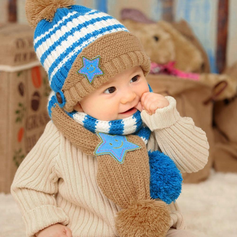 Boy's Scarves Fashion Baby Kids Winter Autumn Warm Hat Earflap Cap Wit Stars Pattern 100% Original