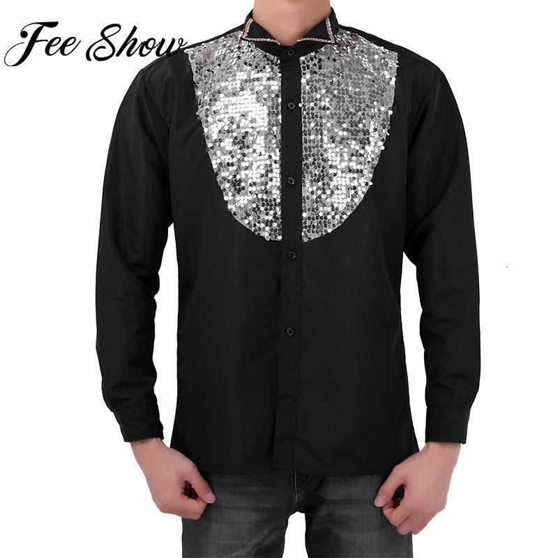 online store fb675 1c302 Camicie da smoking per uomo, da sera, eleganti, paillettes, camicie con  risvolto, manica lunga, clubwear, camicia da danza