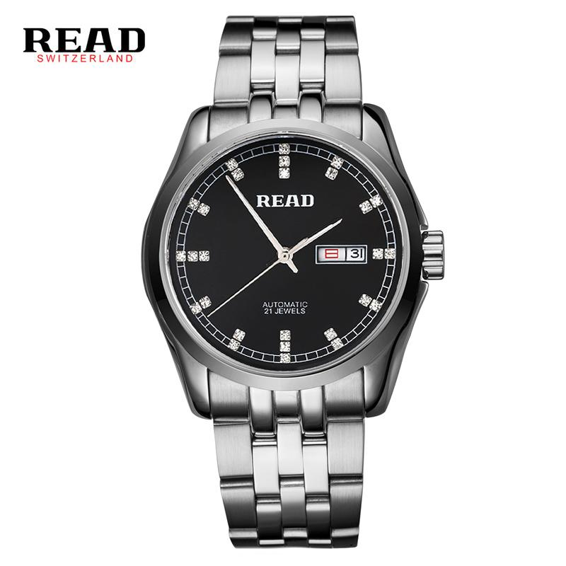 READ 2019 top brand new stainless steel Business Automatic men's wrist watches mechanical week date silver with white color 8021