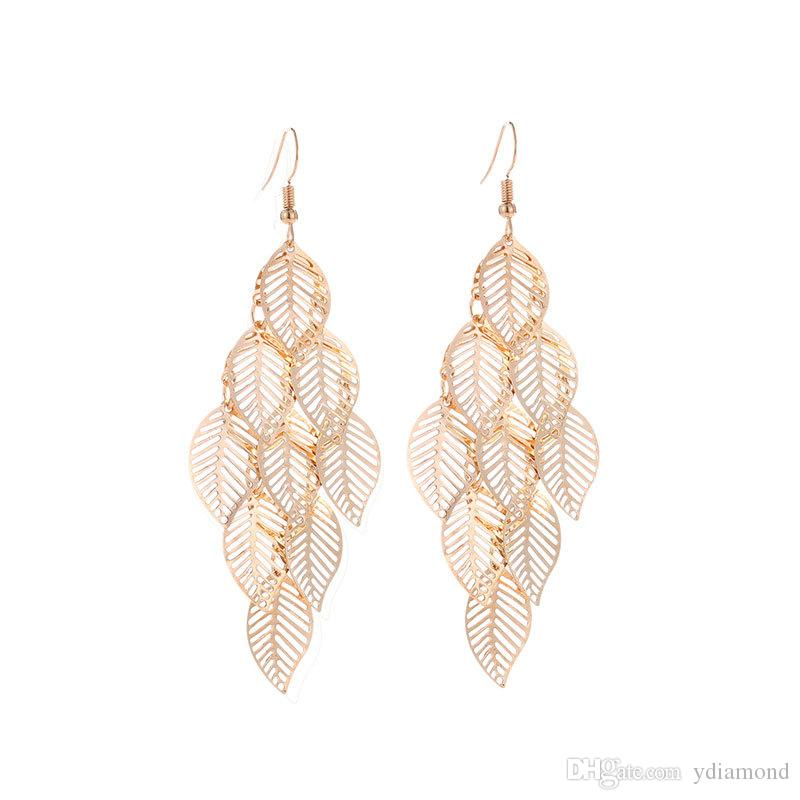 DHL Cross-border wish hot European and American fashion OL simple gold and silver multi-layer hollowed-out leaf earrings long leaf pendant
