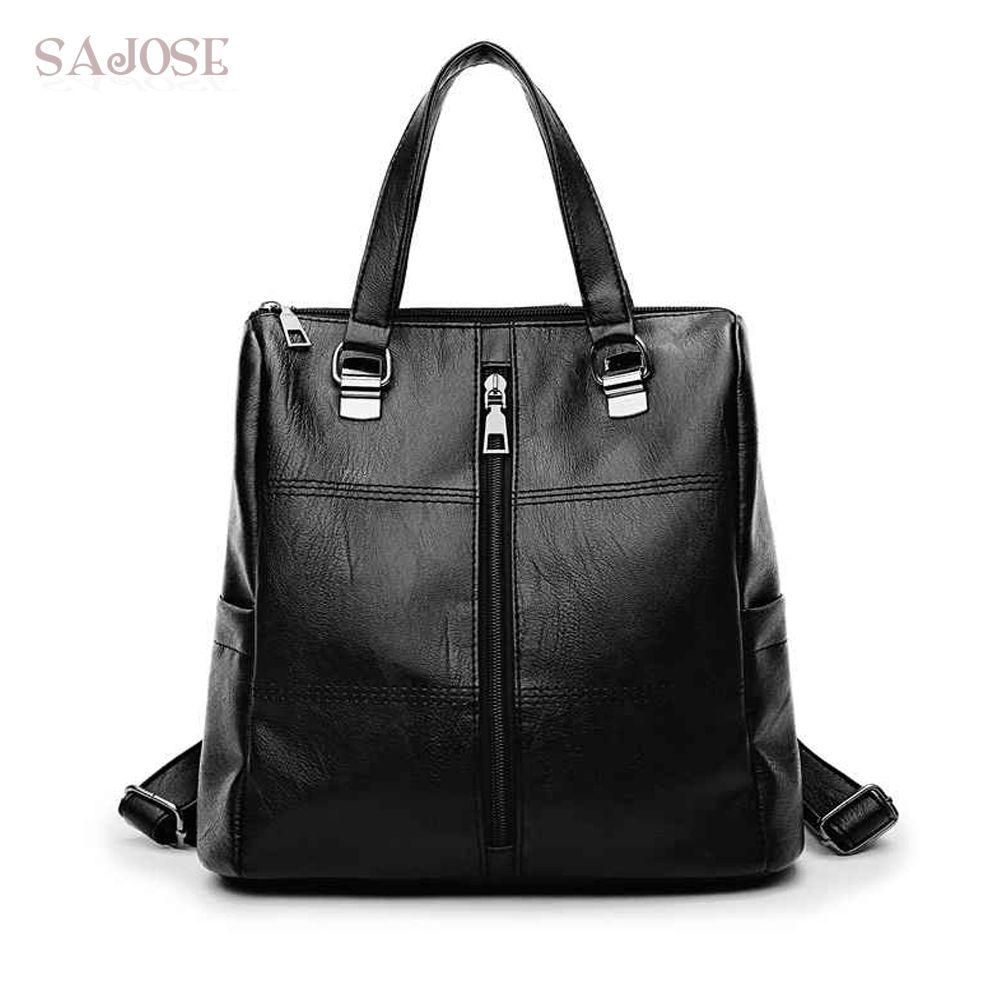a68dec19ca Fashion Women Leather Backpack High Quality Backpacks For Teenage Girl  Female School Student Shoulder Bag Ladies Casual Knapsack Back Pack Mochilas  Jansport ...